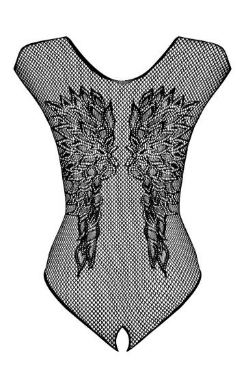 Боди из сеточки с рисунком в виде крыльев на спинке