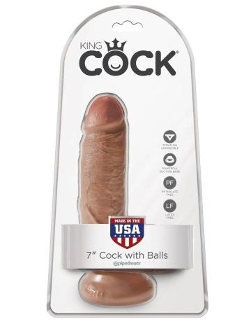 "Фаллоимитатор-мулат с мошонкой 7"" Cock with Balls - 19,4 см."