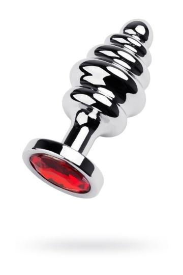 Серебристая фигурная пробка с красным кристаллом - 8 см.