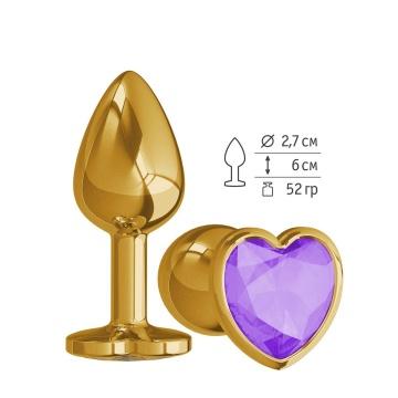 Золотистая анальная втулка с фиолетовым кристаллом-сердцем - 7 см.
