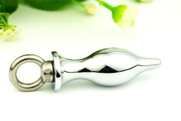 Серебристая анальная пробка со съемным кольцом