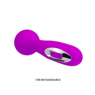 Лиловый жезловый перезаряжаемый вибратор Wade - 15 см.