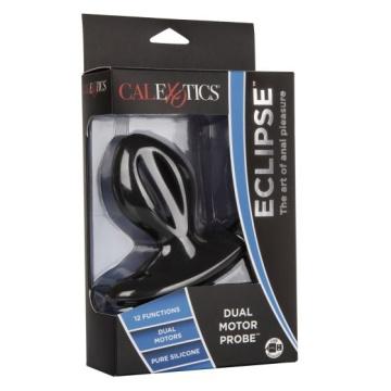 Чёрная анальная пробка с вибрацией Silicone Wireless Dual Motor Probe - 11,5 см.