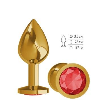 Золотистая средняя пробка с красным кристаллом - 8,5 см.