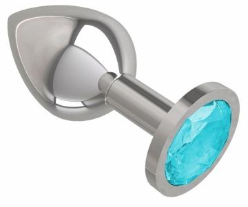 Серебристая средняя пробка с голубым кристаллом - 8,5 см.