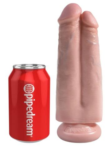 """Сдвоенный телесный фаллоимитатор на присоске 7"""" Two Cocks One Hole - 20,3 см."""
