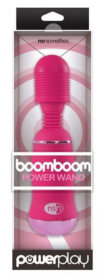 Ярко-розовый вибромассажер с усиленной вибрацией BoomBoom Power Wand